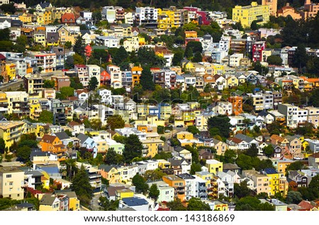 Beautiful houses in San Francisco - stock photo