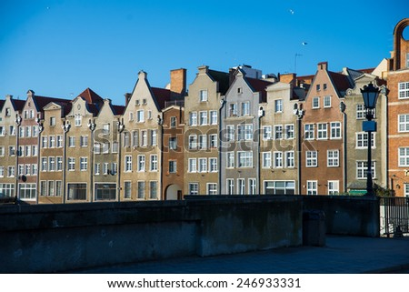 beautiful houses in the old town of Gdansk