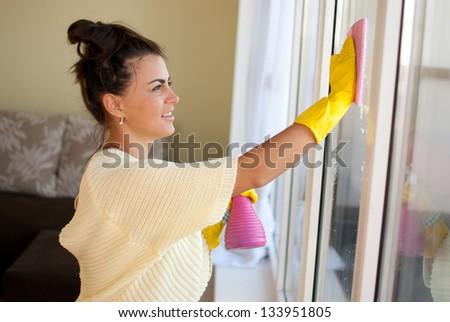 Beautiful housewife - stock photo