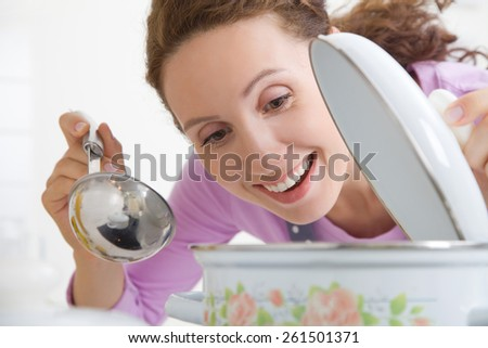 beautiful housewife preparing dinner in the kitchen - stock photo