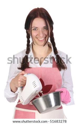 beautiful housewife preparing with kitchen mixer on white  background - stock photo