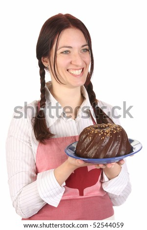 beautiful housewife showing off bundt cake on white background - stock photo