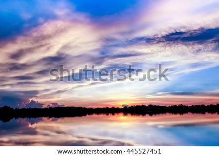 Beautiful huge lake on sunset