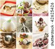 Beautiful ice cream collage made from nine photograph - stock photo
