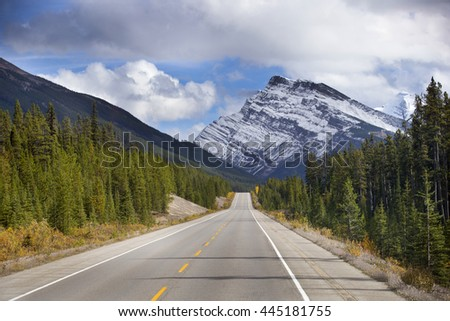 Beautiful Ice Field Highway through Jasper National Park, Canada