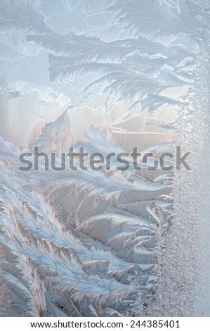 Beautiful ice floral pattern on glass, holiday seasonal background  - stock photo