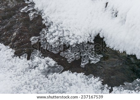 Beautiful ice patterns on winter creek