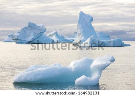Beautiful Icebergs in Disko Bay Greenland around Ilulissat - stock photo