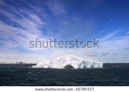 Beautiful Icebergs on a sunny day with blue sky.