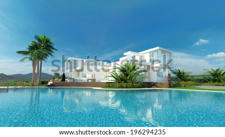 Beautiful idyllic white luxury tropical villa surrounded by palm trees overlooking a sparkling turquoise blue swimming pool - stock photo