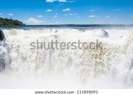 Beautiful Iguazu falls, View from Argentinian side - stock photo