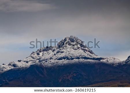 Beautiful Illiniza volcano seen from Cotopaxi volcano in Ecuador - stock photo