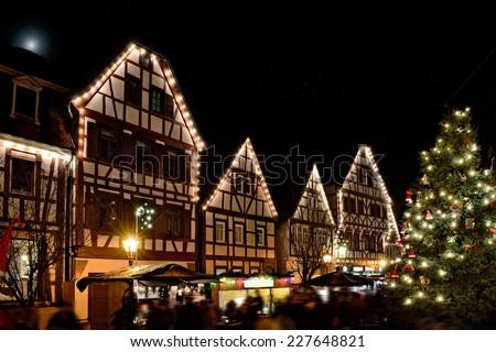 Beautiful illuminations at Christmas week. Weihnachtsmarkt - stock photo
