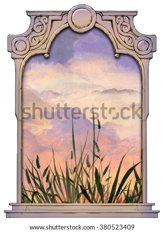Beautiful illustration of a grassy meadow against a twilight sky framed with a stone decorated hand drawn arch - stock photo
