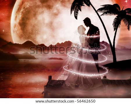 Beautiful illustration of bride and groom in romantic dreamland - stock photo