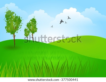Beautiful illustration of landscape with green hills and tree - stock photo