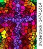 Beautiful illustration of rainbow color stained glass cross. - stock photo