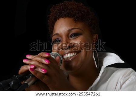 Beautiful Image of a afro american Jazz singer - stock photo