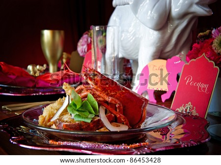 Beautiful image of a gourmet lobster dinner - stock photo