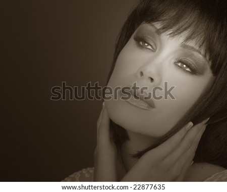 Beautiful Image of a High Fashion Model on Grey