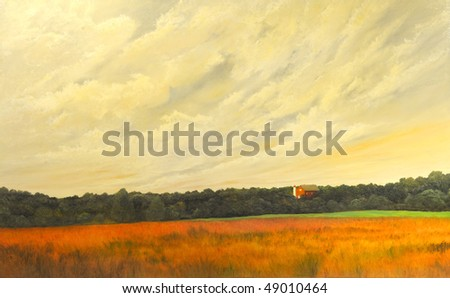 Beautiful Image Of a landscape Painting On Canvas - stock photo