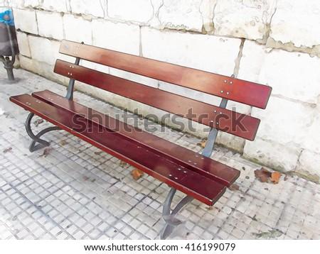 Beautiful image of a maroon bench on sidewalk                                - stock photo