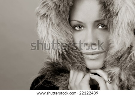 Beautiful Image of a Model In Fur Hat