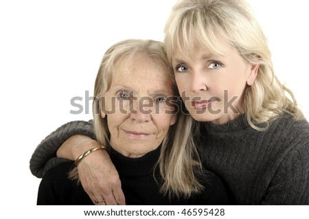 beautiful Image of a Mother and Daughter on white - stock photo