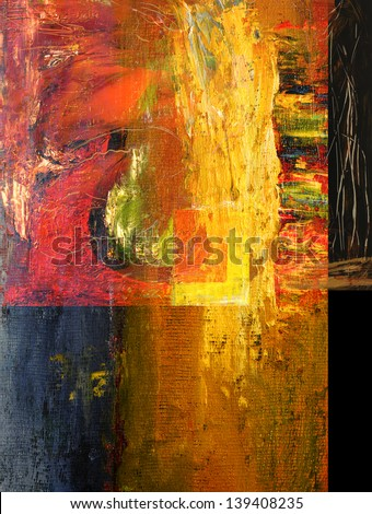 Beautiful Image of a Original Abstract Oil On Canvas - stock photo