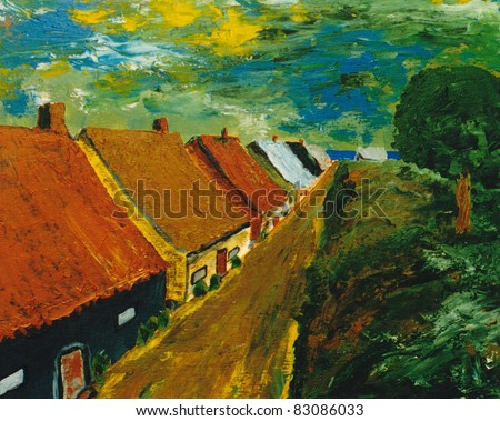 Beautiful Image of a Original Oil On Canvas - stock photo