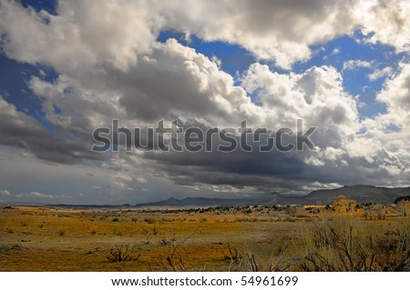 Beautiful image of a passing Storm in new mexico - stock photo