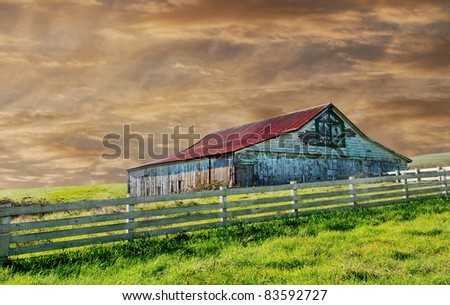 Beautiful Image of a vintage barn in the country - stock photo