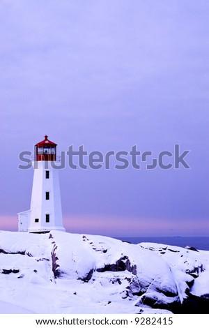 Beautiful image of lighthouse at Peggy's Cove, Nova Scotia, Canada - stock photo