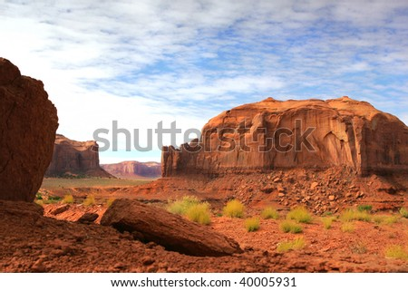 Beautiful image of Monument Valley with a blue sky