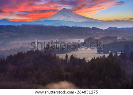 Beautiful Image of Mt. Hood taken during sunrise from Jonsrud view point in Sandy, Oregon, USA. - stock photo