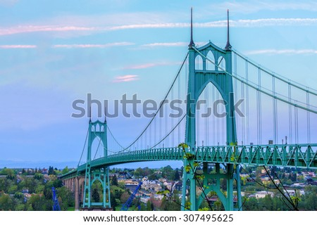 Beautiful Image of Saint John's Bridge in Portland, Oregon - stock photo
