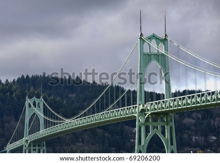 Beautiful Image of Saint John's Bridge in Portland, Oregon. - stock photo