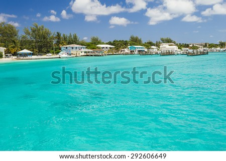 Beautiful image of some houses on the beach - stock photo