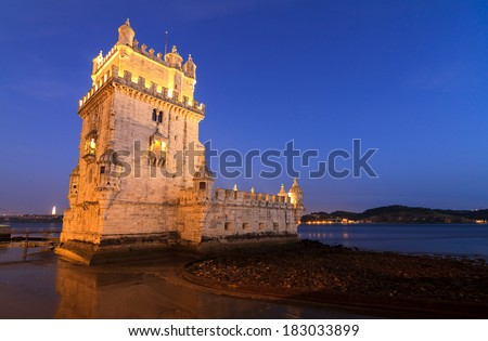 Beautiful image of the famous Belem tower after sunset during the blue hour in Lisbon, Portugal.