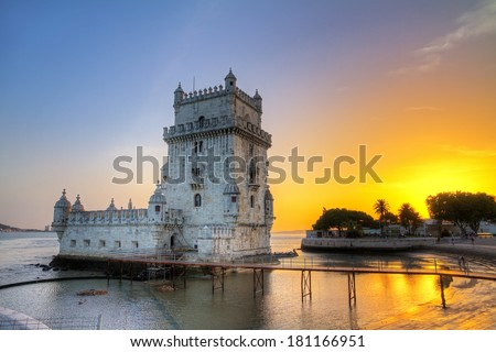 Beautiful image of the famous Belem tower at sunset in Lisbon, Portugal. HDR - stock photo