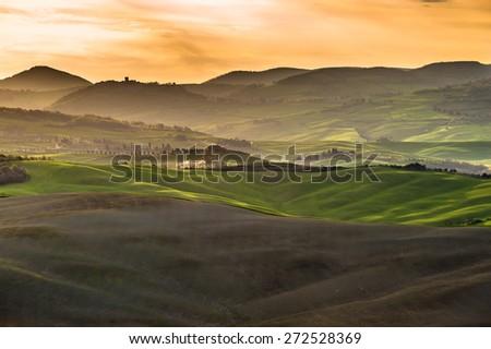Beautiful image of the Tuscany countryside - stock photo