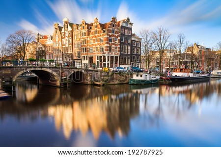 Beautiful image of the UNESCO world heritage canals the 'Brouwersgracht' en 'Prinsengracht (Prince's canal)' in Amsterdam, the Netherlands - stock photo
