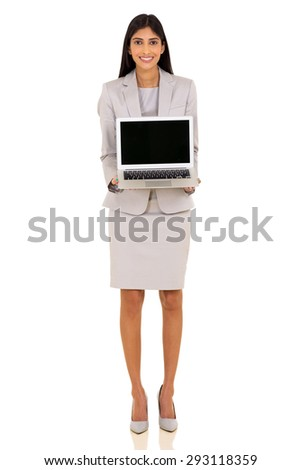 beautiful indian businesswoman presenting laptop on white background - stock photo