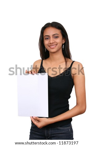 Beautiful Indian girl holding a white sign. - stock photo