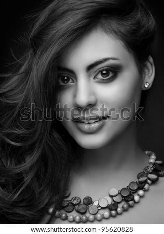 beautiful indian girl, monochrome shot - stock photo