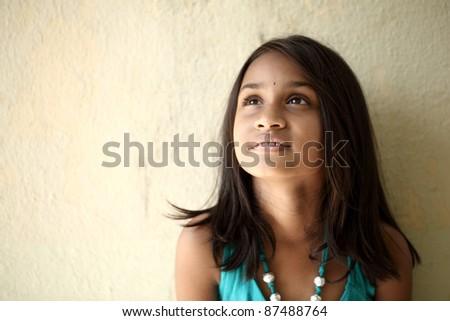 Beautiful Indian little girl - stock photo
