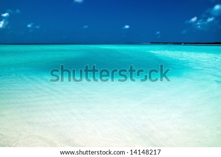 beautiful indian ocean in different shades of blue - stock photo
