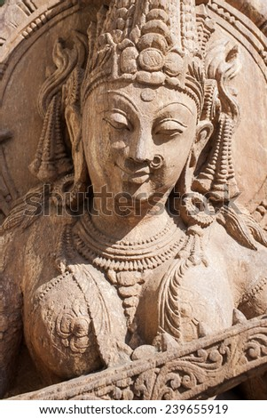 Beautiful indian statue of the goddess. - stock photo