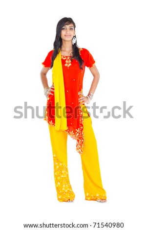 beautiful indian woman full length studio portrait - stock photo