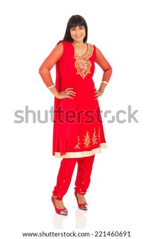 beautiful indian woman posing on white background - stock photo